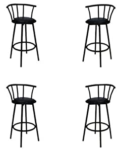 4 29 Black Bar Stools - Swivel with Black Vinyl Seats by The Furniture Cove