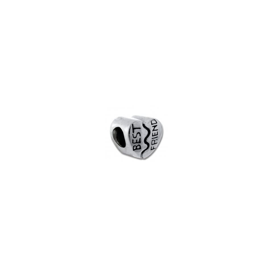 Best Friend Heart Bead   Fully Compatible with Pandora, Chamilia, Troll