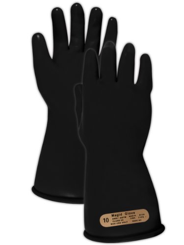 """Magid M00 A.R.C. Natural Latex Rubber Class 00 Insulating Glove With Straight Cuff, Work, 11"""" Length, Size 10, Black"""