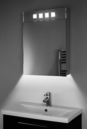 Diamond X Collection Ambient White Bathroom Mirror Cabinet with Sensor & Internal Shaver Socket K178 (H)700 x (W)500mm x (D)115mm