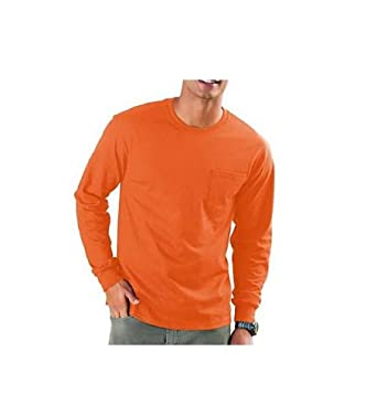 Hanes TAGLESS 6.1 Long Sleeve Tee with Pocket, S-Light Blue