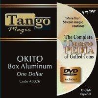 MMS Okito Coin Box (Aluminum with DVD) (A0026) One Dollar by Tango Magic - Tricks