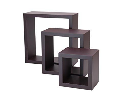 floating wall shelves wood cube set of 3 vintage. Black Bedroom Furniture Sets. Home Design Ideas