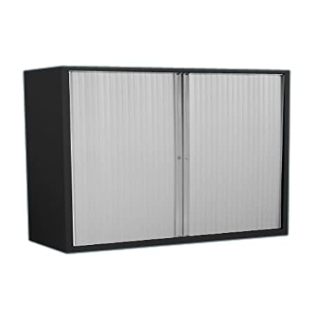 Bisley ET410/10/2S.SL 103 cm Euro Tambour Silver Shutter with 1 Shelf - Black