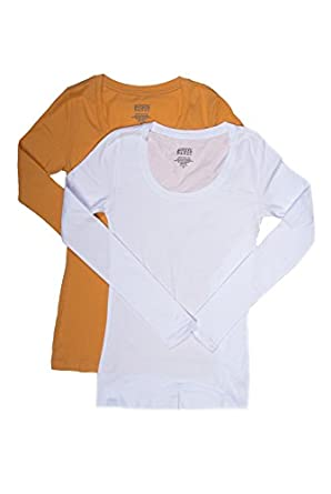 2 Pack Active Basic Women's Basic Scoop Neck Tops Small White & Mustard