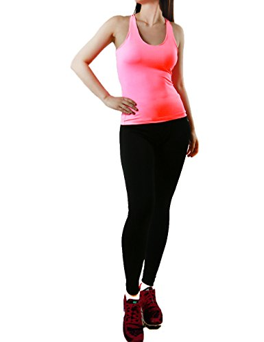 Womens Activewear 2pc Set Fitted (S.M.L.XL) Tank Top & Leggings (LARGE, PINK)