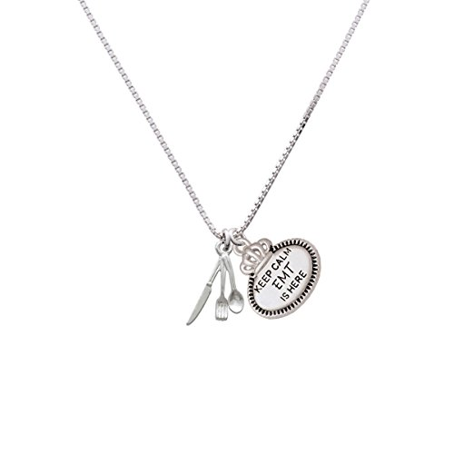 Fork Knife And Spoon - Keep Calm Emt Is Here Necklace