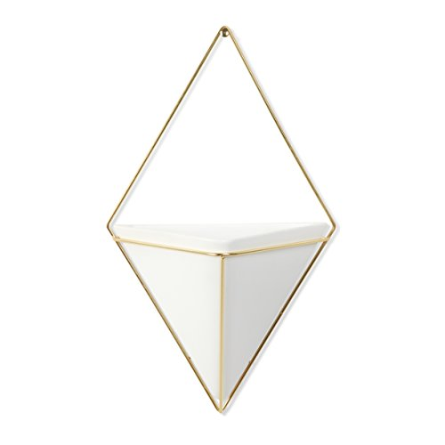 Umbra Trigg Hanging Container, Large, White/Brass (Wire Wall Planter compare prices)