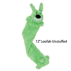 Multipet International Loofa Light-Weight Stuffing Free Dog Toy, 12-Inch, Colors May Vary