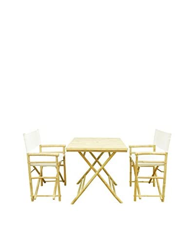 ZEW, Inc. Square Table & Director Chair Set, White
