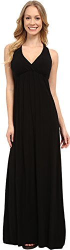 Hard Tail Twisty Back Maxi Dress Black Women's Clothing