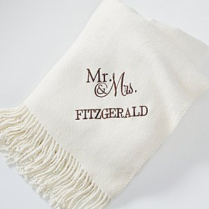 Personalized Throw Blanket - Ivory - Wedding & Anniversary front-998459