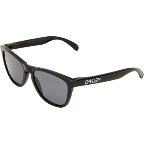Oakley Mens Frogskins 24-306 Cat Eye Sunglasses,Polished Black Frame/Grey Lens,One Size
