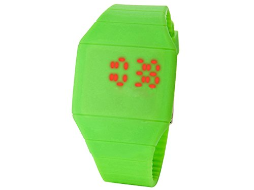 Moonar®Unisex Ultra Thin Cool Red Led Touch Screen Digital Display Rubber Wrist Watch(Green)