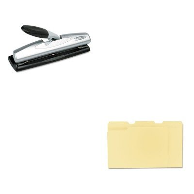 KITSWI74026UNV12113 - Value Kit - Swingline LightTouch Desktop Three-Hole Punch (SWI74026) and Universal File Folders (UNV12113) kitmmmc60stpac103637 value kit scotch value desktop tape dispenser mmmc60st and pacon riverside construction paper pac103637