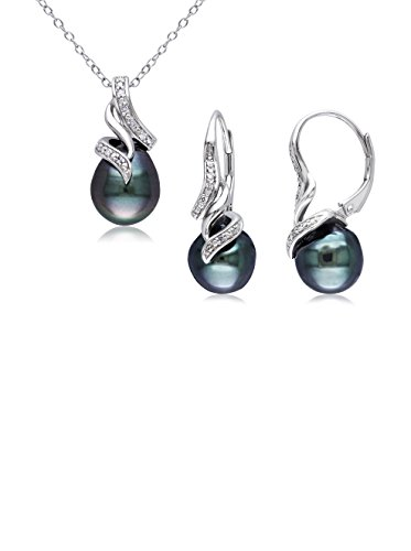 Michiko Sterling Silver Tahitian Cultured Pearl & 1/10-Ct. Diamond Pendant Necklace & Drop Earrings Set