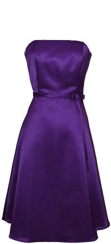 50's Strapless Satin Formal Bridesmaid Prom Dress Holiday Gown, Large, Purple