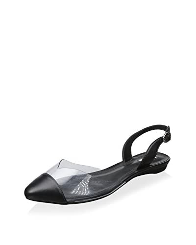 Schutz Women's Bussola Flat Sandal  [Black/Transparente]