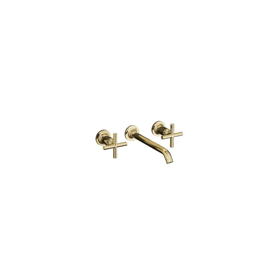 Kohler Purist Polished Gold Wall Mount Bathroom Sink Faucet, 8 1/4 Spout+Cylinder Cross Handles