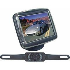 PYLE PLCM36 3.5'' Slim TFT LCD Universal Mount Monitor w/ License Plate Mount Rearview Night Vision Backup Camera