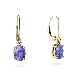 Genuine Tanzanite 14K Yellow Gold Lever Back Earrings