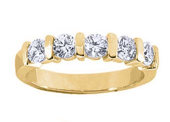 Women's 5 Stone Diamond Ring in Round Cut Diamonds Bar Setting ( 1.50 Total Carat Weight | GH-I1 Quality | 18k Yellow Gold ) Finger Size - 4.25