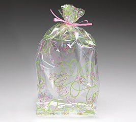 (10) Spring Blooms Flower Cello Birthday Baby Shower Favor Gift Bag 11x5x2.5