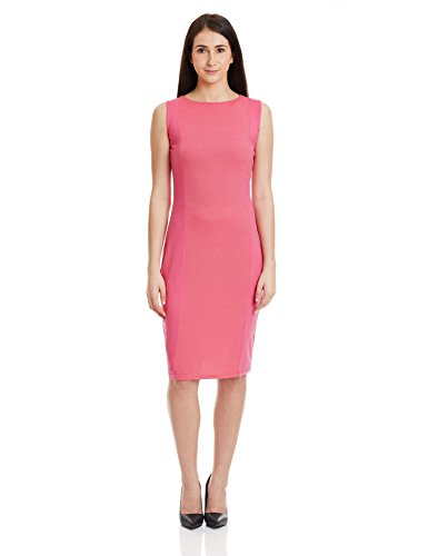Miss Chase Women's Cotton Body Con Dress (MCAW15D05-19_Pink_XS)