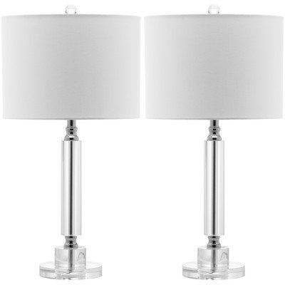 Safavieh Lighting Collection Deco Column Crystal 24.5-inch Table Lamp (Set of 2)