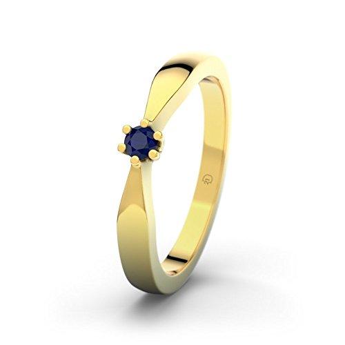 21DIAMONDS Angela Engagement Women's Ring 14Carat (585) Yellow Gold Stunning Round Brilliant Cut Blue Sapphire Color Engagement Ring