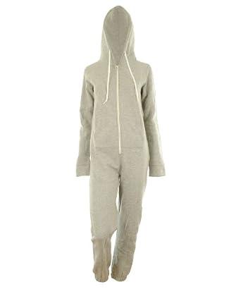 grau XL-38 Dayna Neu Damen Unisex Fleece ausgekleidet Plain Farbige Kapuzen mit Cuff Reißverschluss vorne Damen Jumpsuit Overall Onesie