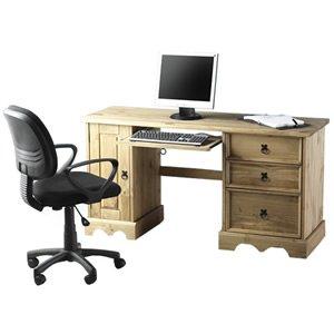 Corona Computer Desk Distressed Waxed Pine