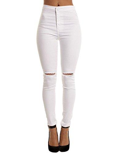 yiarton pantalon jeans femme taille haut cigarette trou skinny longueur cheville lastique s. Black Bedroom Furniture Sets. Home Design Ideas