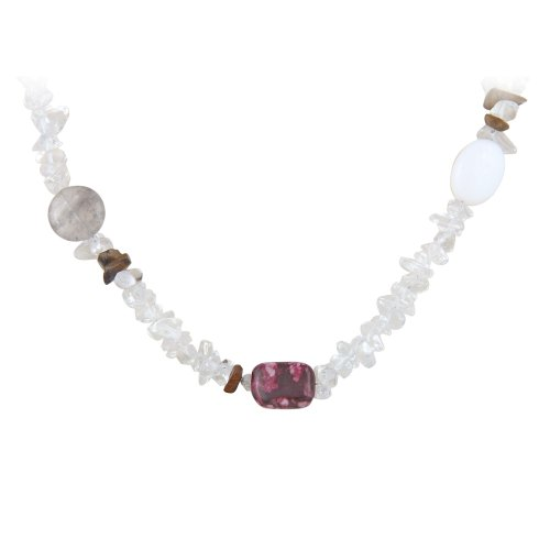 Sterling Silver Grey, Clear and Pink Genuine Stone Chip and Nugget Necklace, 60