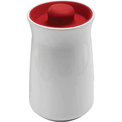 Red and White Ceramic Kitchen Canister