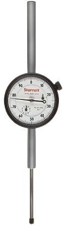 """Starrett Dial Indicator, Long Range, Inch, 0.375"""" Stem Diameter, AGD Compliant"""