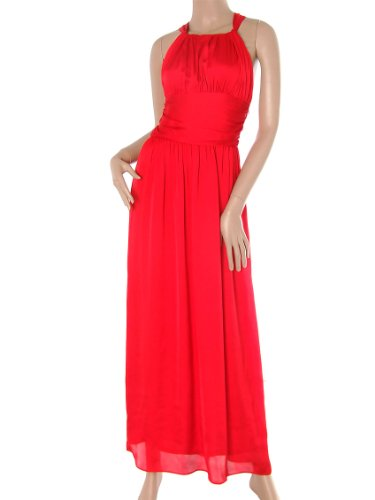 Ever Pretty Cross Back Silk Feel NWT Sexy Empire Waist Long Prom Downs 08001, HE08001RD10, Red, 8US