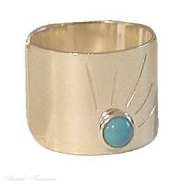 Sterling Silver Nonpiercing Wide Flat Turquoise Sun Burst Band Ear Cuff