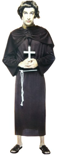 Brown Monk Robe Halloween Costume: Adult Mens Plus Size 2XL 50-52 with Sash/Belt
