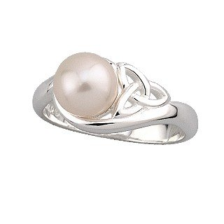 Sterling Silver and Synthetic Pearl Teardrop Trinity Knot Ring-Size 5