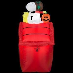 Airblown 3.5 ft. Peanuts Red Baron Lighted Snoopy with Pumpkin