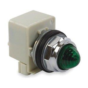 Pilot Light, 30Mm, Chrome, Green, 120Vac