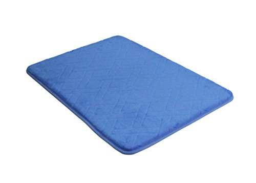 HOME BEYOND 17 x 24-Inch Basket-Weave Memory Foam Bath Mat (Ocean Blue)