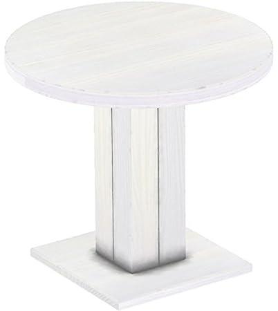 Brésil Rio un meuble table de salle à manger, en bois de pin massif huilé et ciré blanc 90cm/hauteur 78cm