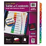 Avery Extrawide Ready Index Dividers, Laser/Ink Jet, 9.5 x 11 Inches, Assorted, 10 Tabs, 1 Set (11165)
