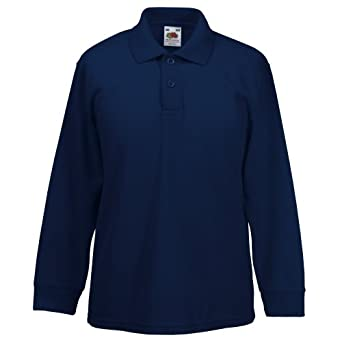 Fruit Of The Loom Childrens Long Sleeve 65/35 Pique Polo / Childrens Polo Shirts (3-4) (Deep Navy)