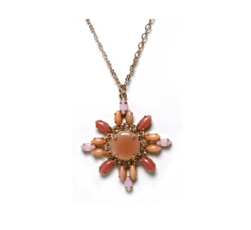 24K Rose Gold Plated Alluring Pendant from 'Love and Tenderness' 2013 Collection Amazingly Created by Amaro Jewelry Studio with Rose Quartz, Pink Aventurine, Pink Mussel, Coral Salmon and Swarovski Crystal Accents