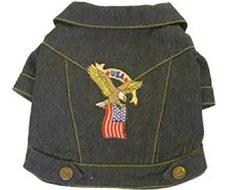 Denim Eagle and American Flag Dog Jacket (Small)
