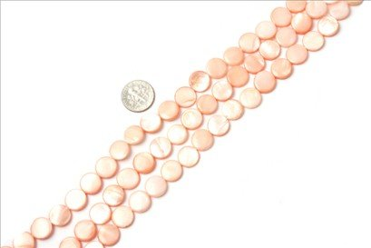 11mm coin gemstone pink Sea shell beads strand 15