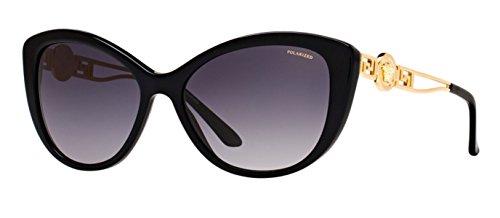 Image of Versace Womens Sunglasses (VE4295) Black/Grey Acetate - Polarized - 57mm